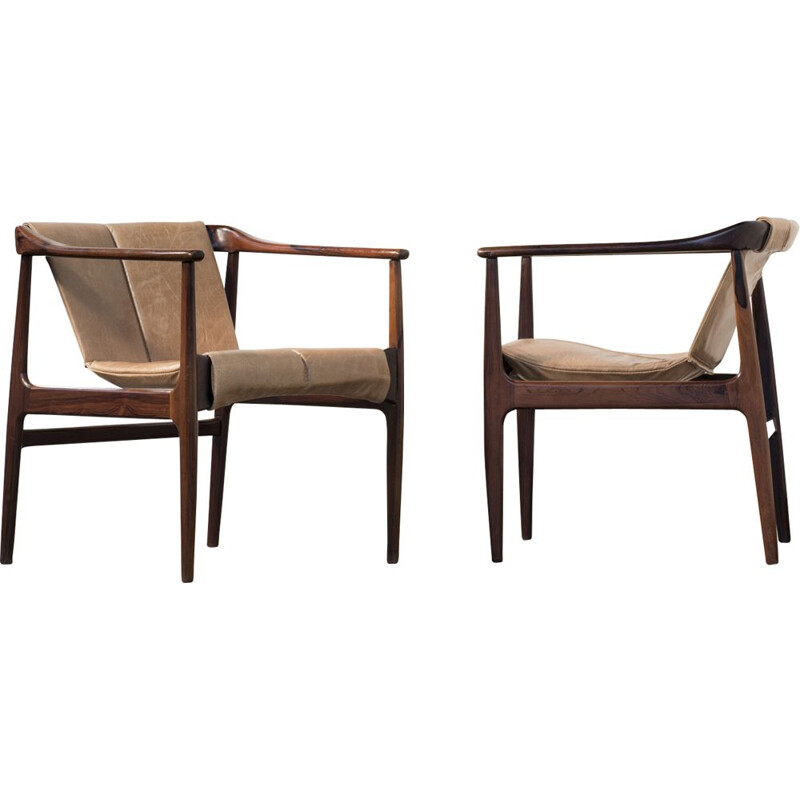 Pair of vintage brazilian armchairs in rosewood and beige leather 1950