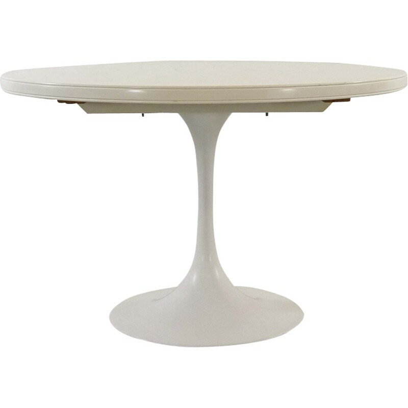 Vintage german extendable table in white aluminium and wood 1970