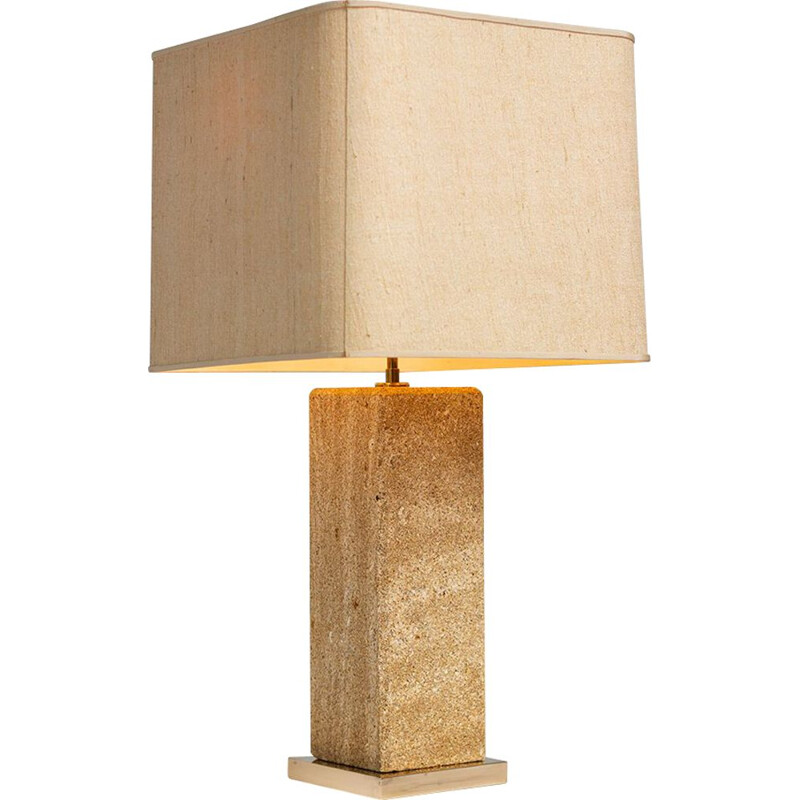 French vintage table lamp in beige limestone 1970