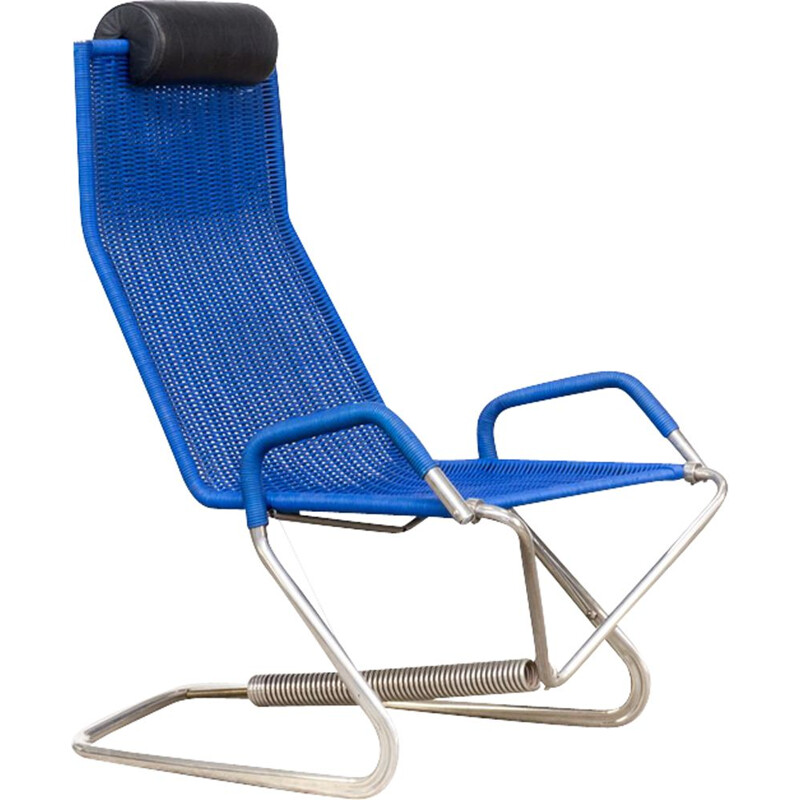Vintage D36 armchair for Tecta in blue rope and metal 1990