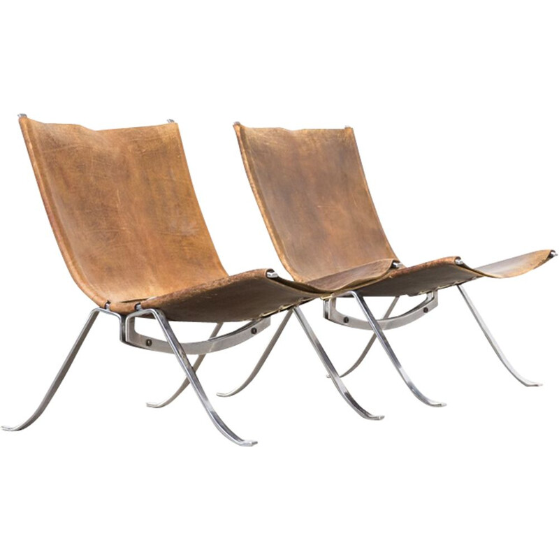 Pair of vintage armchairs for Arnold in metal and brown leather 1970