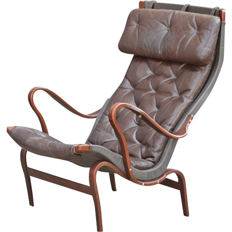 Vintage Lounge Chair in Leather Pernilla by Bruno Mathsson for DUX Sweden 1960s