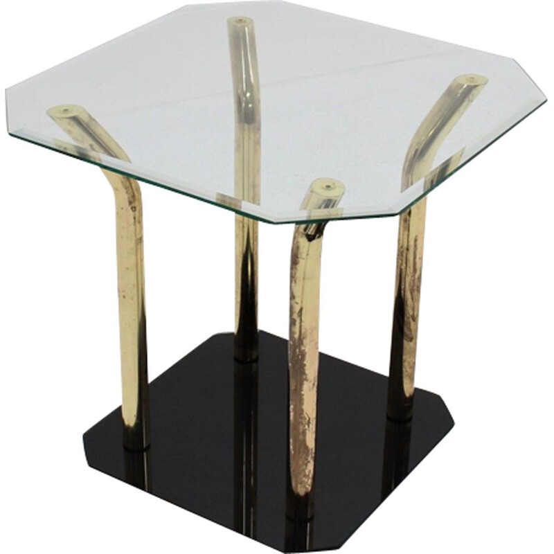 Vintage side table glass and brass Italy 1970s