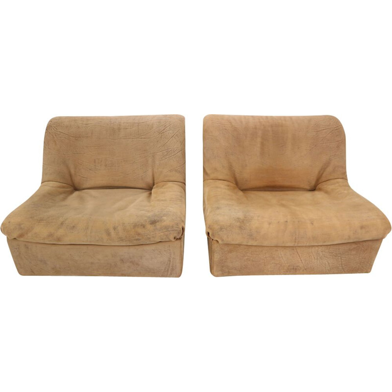 Set of 2 vintage lounge chairs De Sede DS46 in Buffalo Leather, Switzerland 1970s