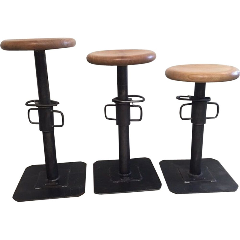 Set of 3 vintage stools industrial adjustable by Pezon