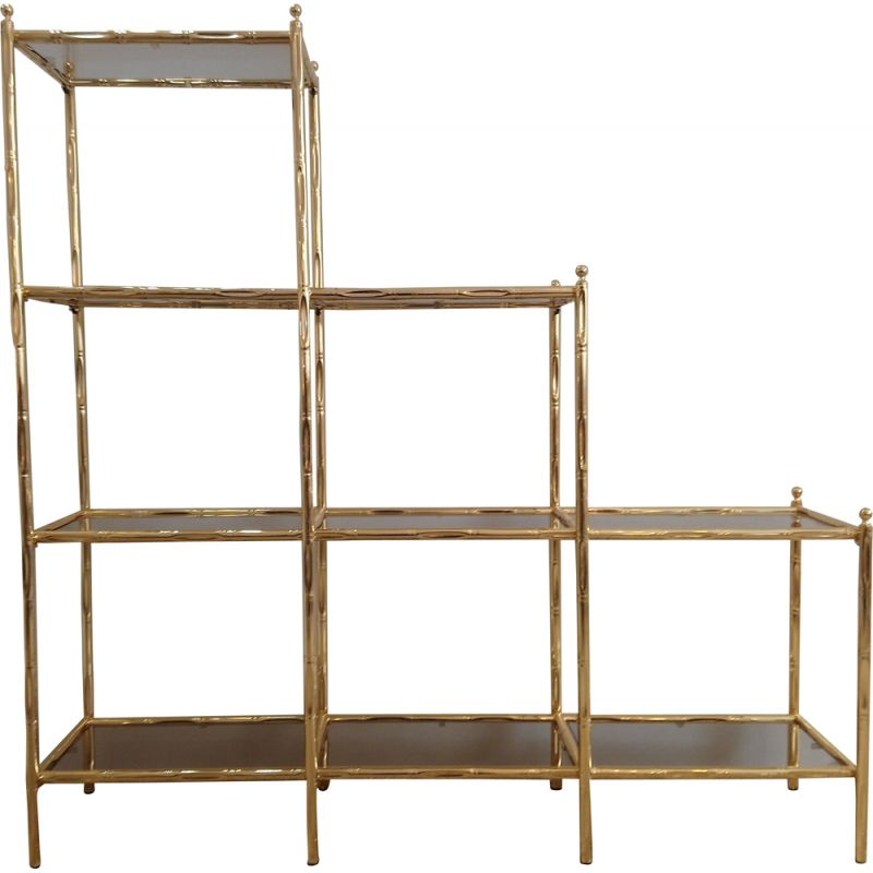 Vintage imitation-bamboo library in gold metal and glass 1980