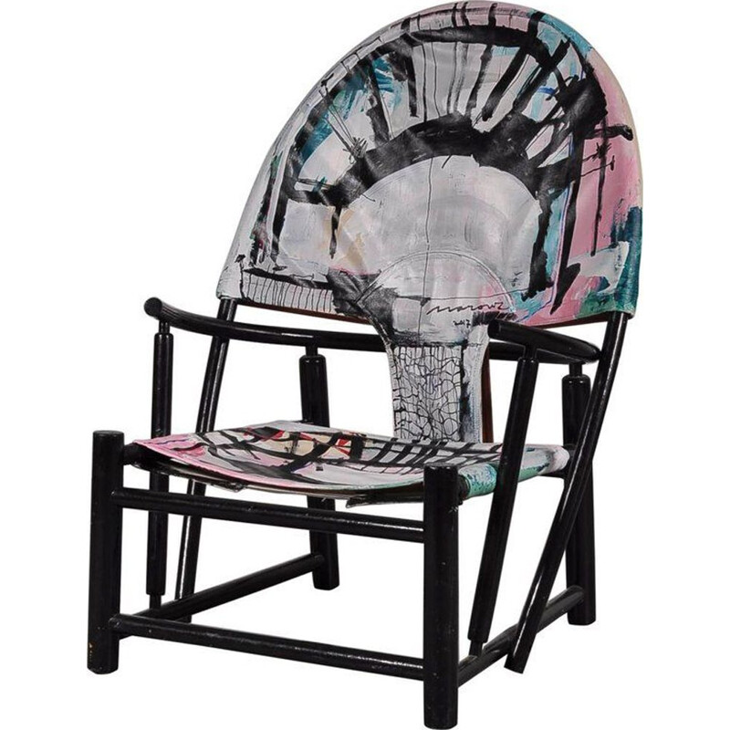 Vintage Hoop armchair for Germa in multicoloured leather and wood 1970