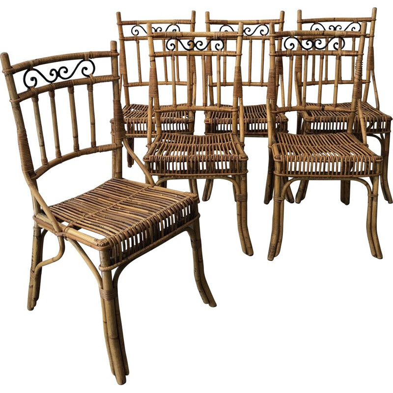 Set of 6 vintage chairs wicker and metal