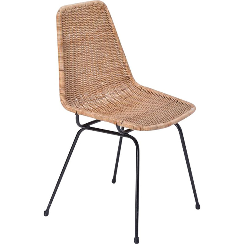 Vintage Chair Rattan and Metal Base by Dirk van Sliedregt for Rohé Noordwolde