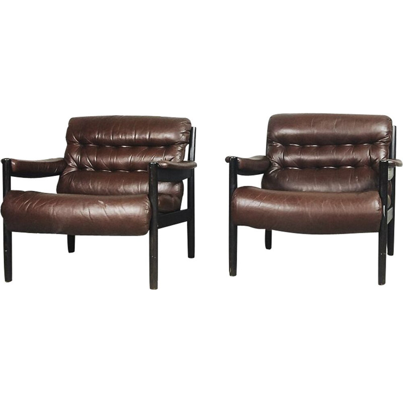 Set of 2 vintage armchairs Leather by Dux,Swedish 1970s