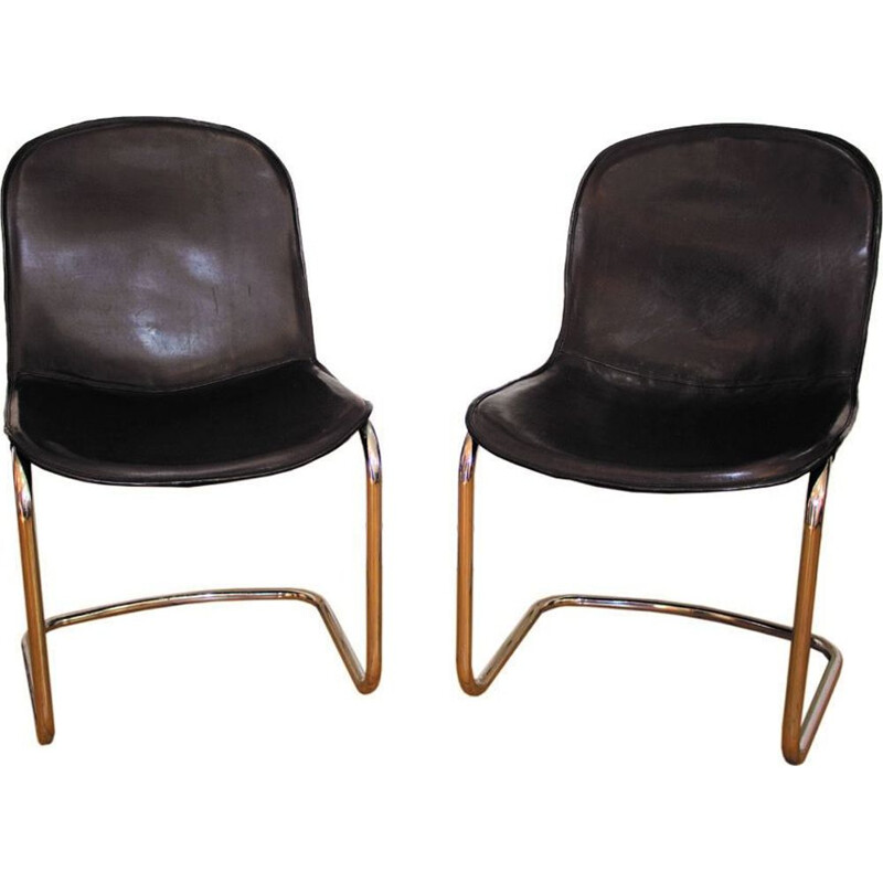 2 vintage cowhide dining chairs by Gastone Rinaldi, Italy, 1960
