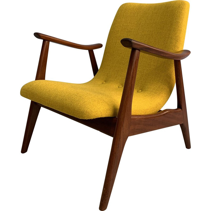 Vintage Dutch armchair in teak by L.van Teefelen for Webe armchair,1960