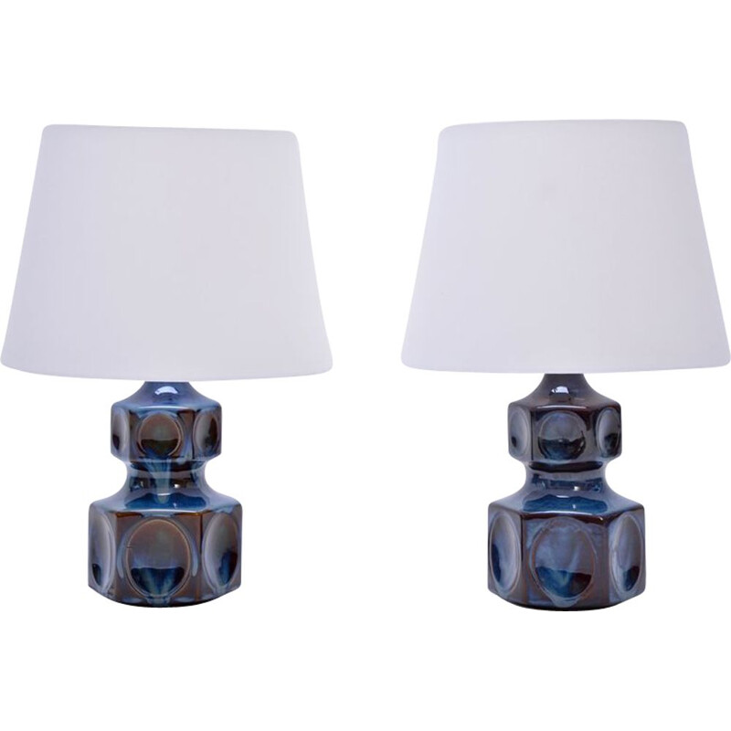 Vintage Pair of Table Lamps by Soholm Model 1062,1970