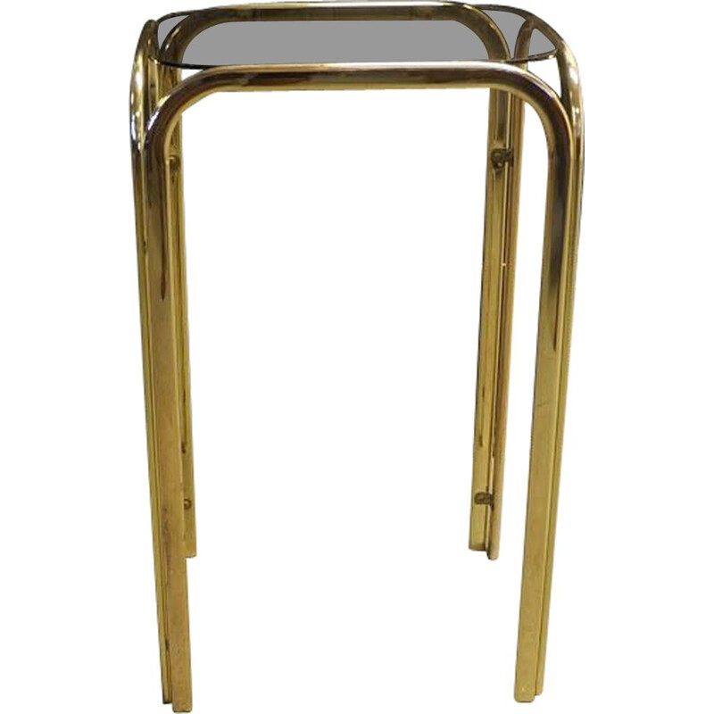 Vintage side table in brass and smoked glass top 1960 side table