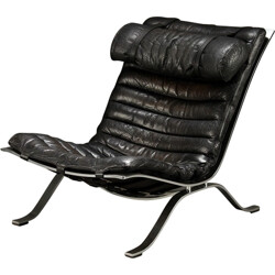 Norell Møbel AB Ari black low chair, Arne NORELL - 1960s