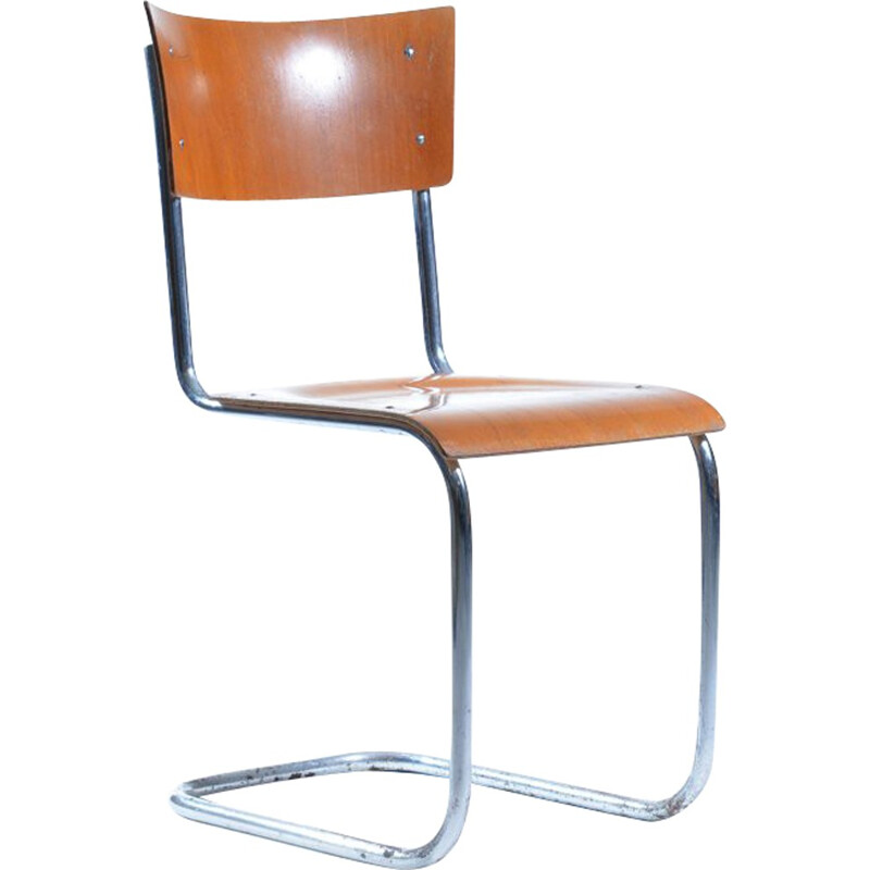 Wooden and chromium Kovona chair, Mart STAM - 1960s