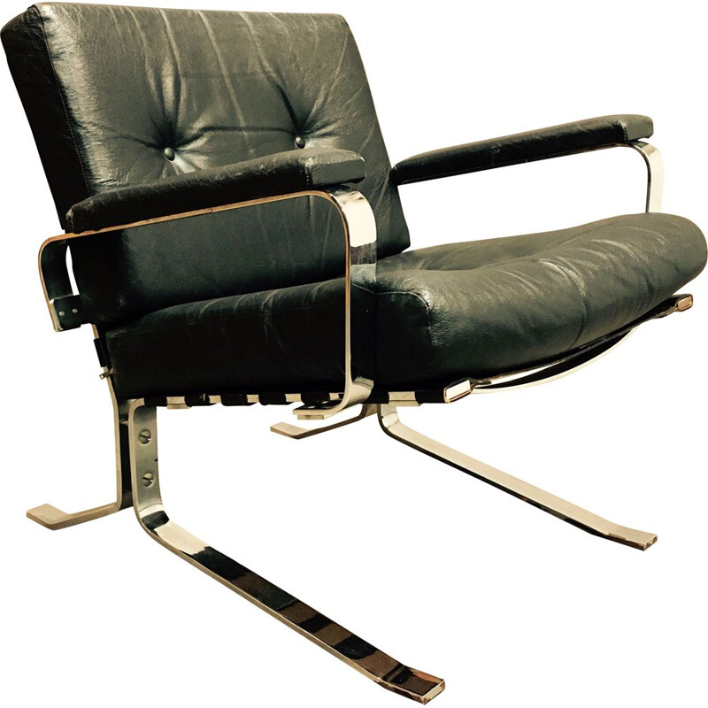 Vintage Armchair black leather and chrome 1960