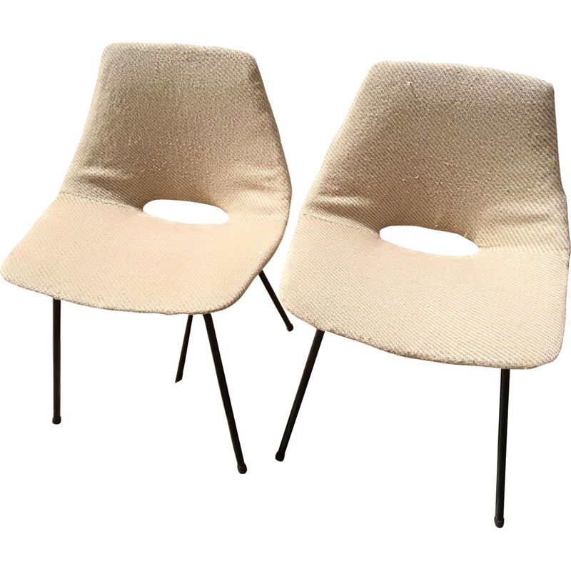"Vintage pair of ""tonneau"" chairs by Pierre Guariche 1950"