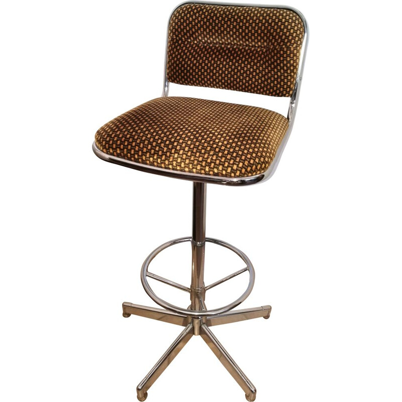 Vintage bar stool in chromed metal and velvet 1970