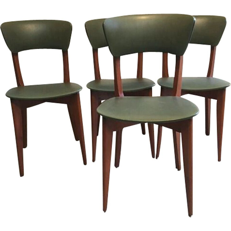 Set of 4 vintage chairs in wood and green leatherette 1960