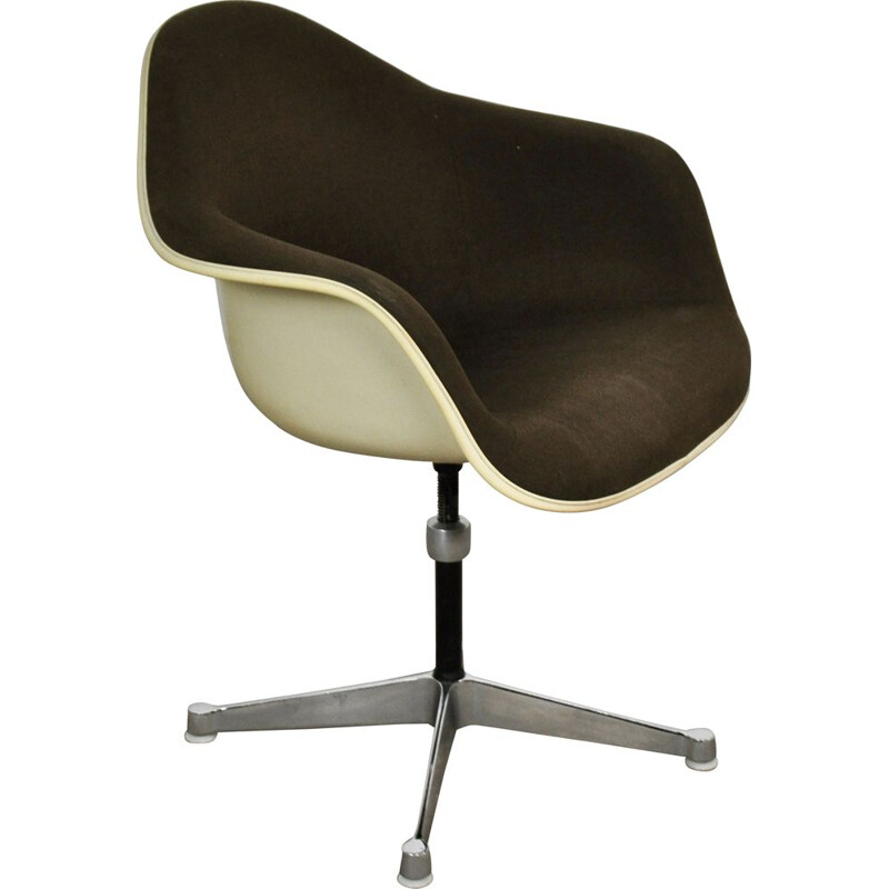 Vintage armchair for Herman Miller in brown fabric and fiberglass 1970