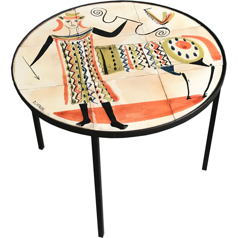 French vintage table by Capron in ceramics 1950