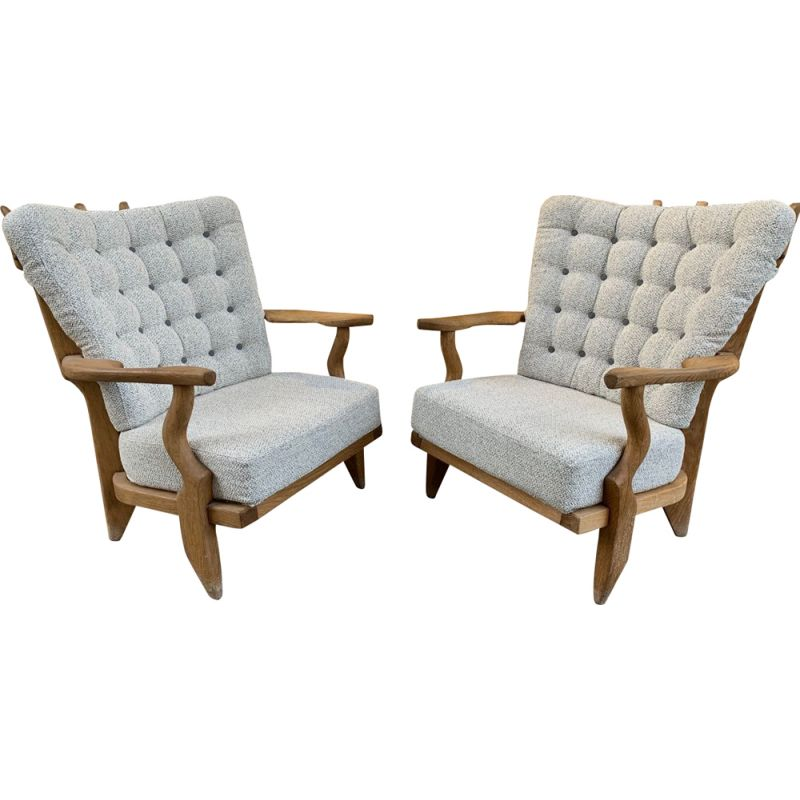 Pair of vintage armchairs by Guillerme and Chambron in grey fabric and wood 1960