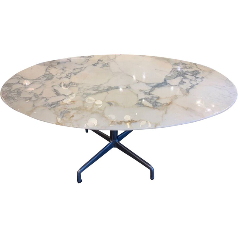 Vintage table for Charles Eames in white marble 1970