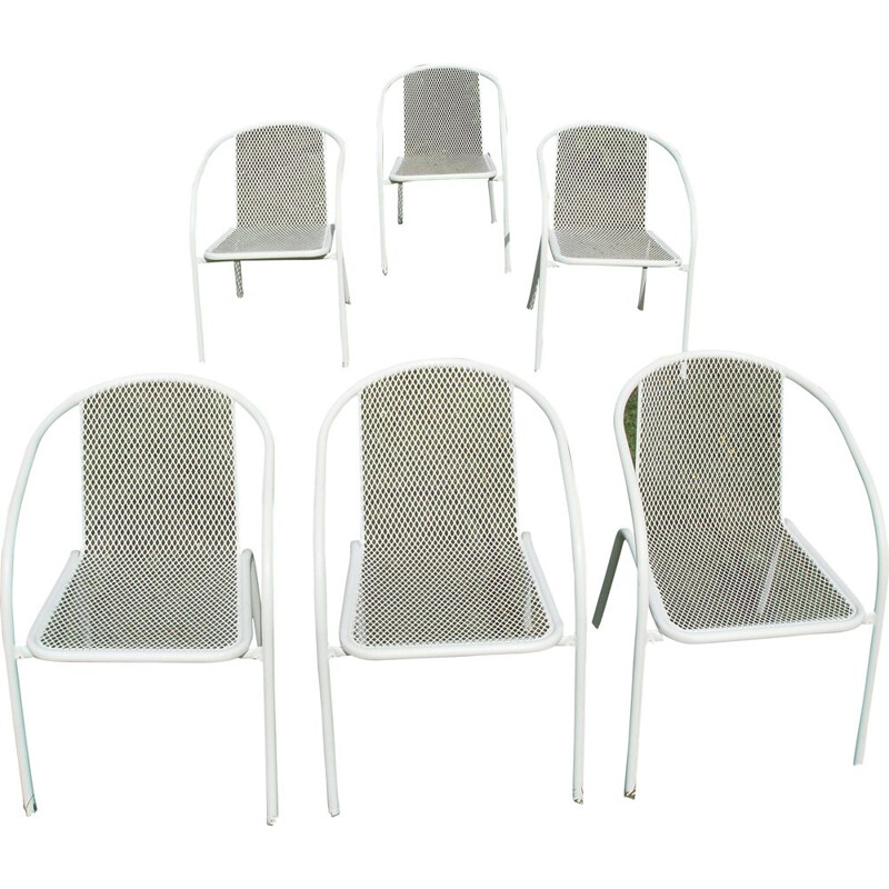 Set of 6 vintage chairs in white metal and rilsan 1960