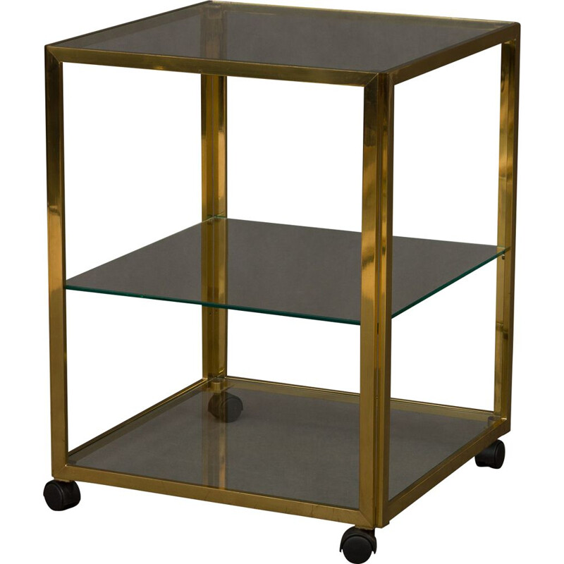 Vintage italian bar trolley in brass and glass with 3 shelves 1970