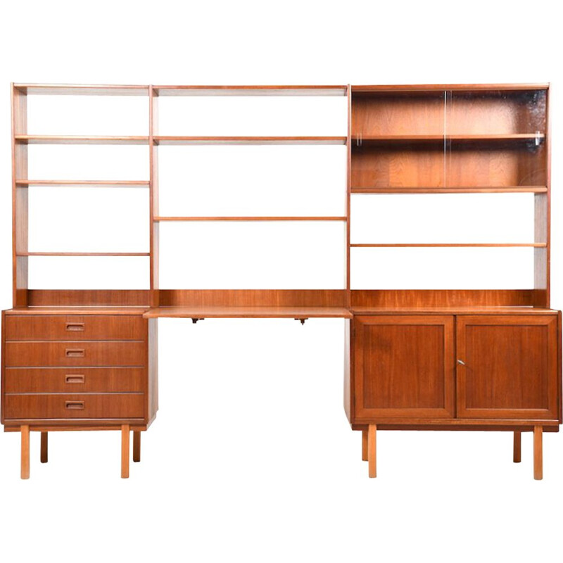 Vintage scandinavian wall shelf system in teak and birch 1950