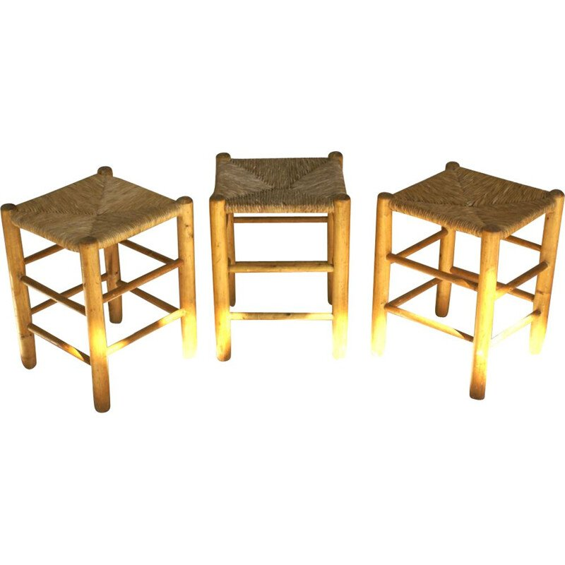Set of 3 vintage stools by Perriand for Stenou in pine and rattan 1960
