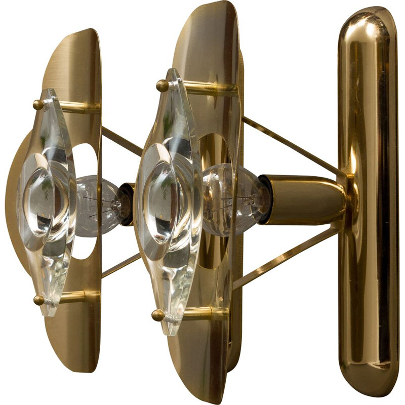 Pair of vintage sconces by Sciolari in brass and glass 1970