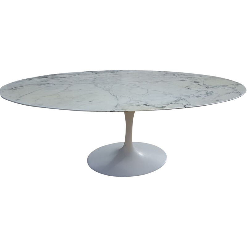 Vintage Tulip table for Knoll in white marble and aluminium 1980