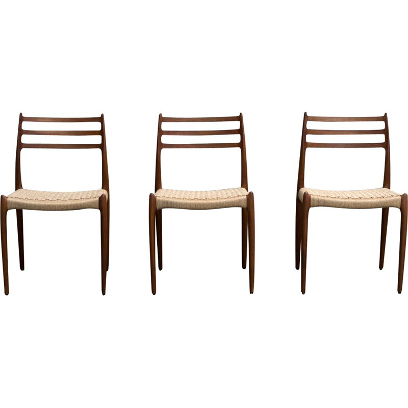 Set of 3 vintage chairs in teak Moller 78