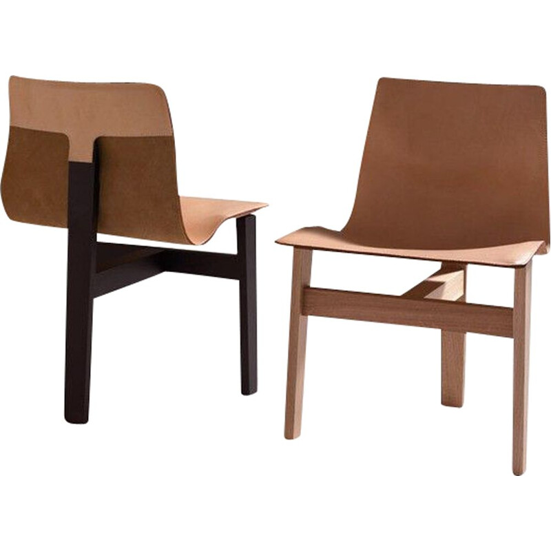 "Chair ""TRE 3"" in wood and leather, Angelo Mangiarotti"