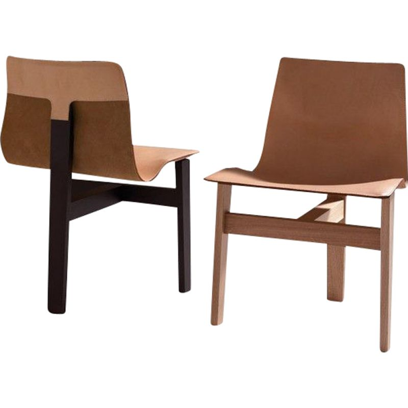 """Chair """"TRE 3"""" in wood and leather, Angelo Mangiarotti"""