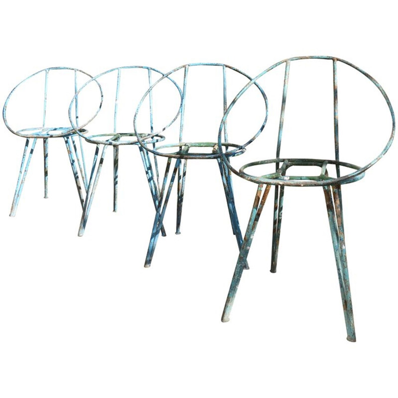 Set of 4 vintage blue metal garden chairs 1950