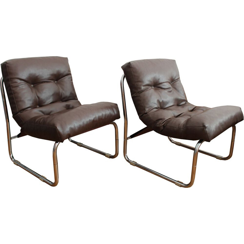 Pair of vintage Neomodernist Tubular Steel and Leather Armchairs
