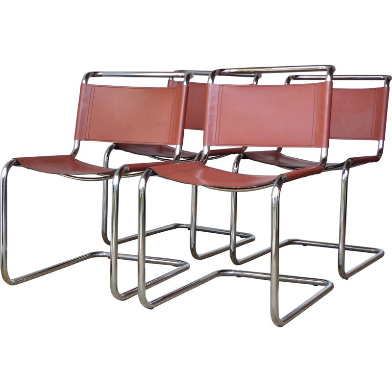 Set of 4 vintage chairs by Marcel Breuer's with leather model B33 70s