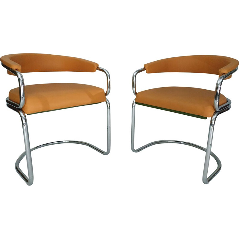 Pair of vintage armchairs in tubular chrome and leather camel 1970s