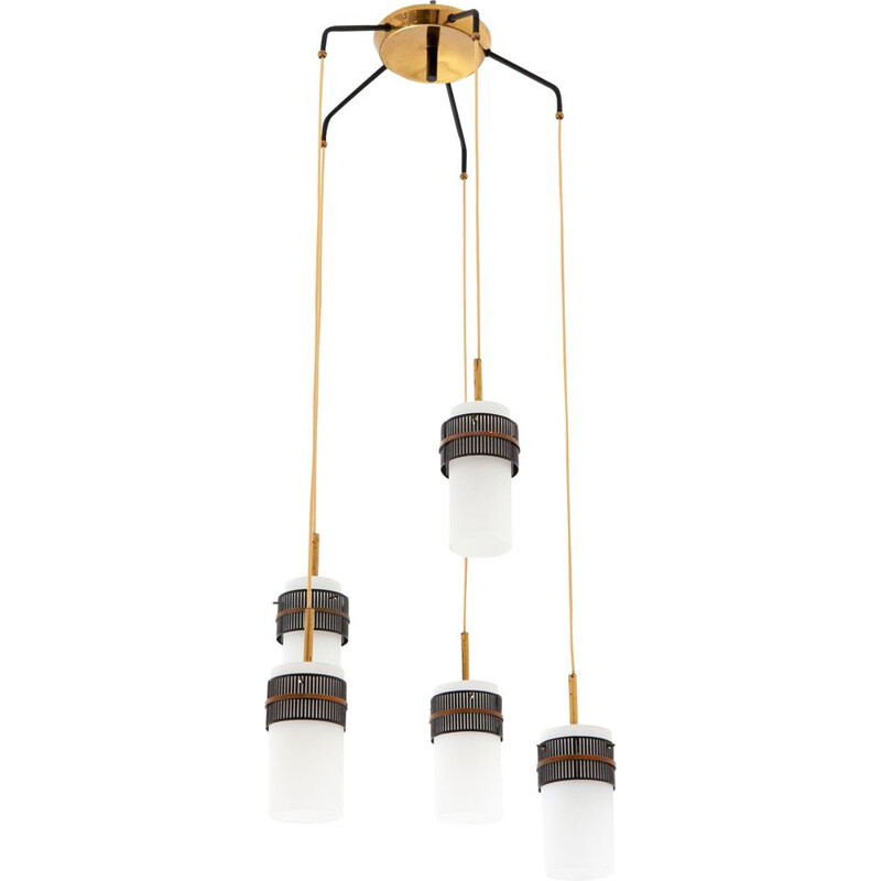 White Italian pendant lamp in opaline glass and brass