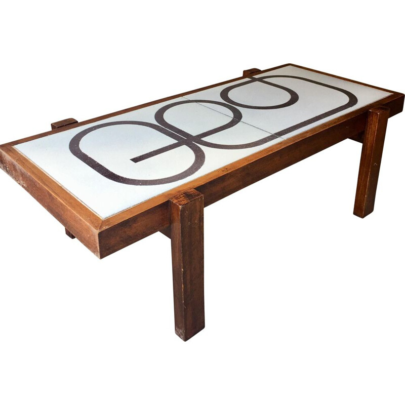 Vintage coffee table enameled lava from school les Deux Potiers, France 1960