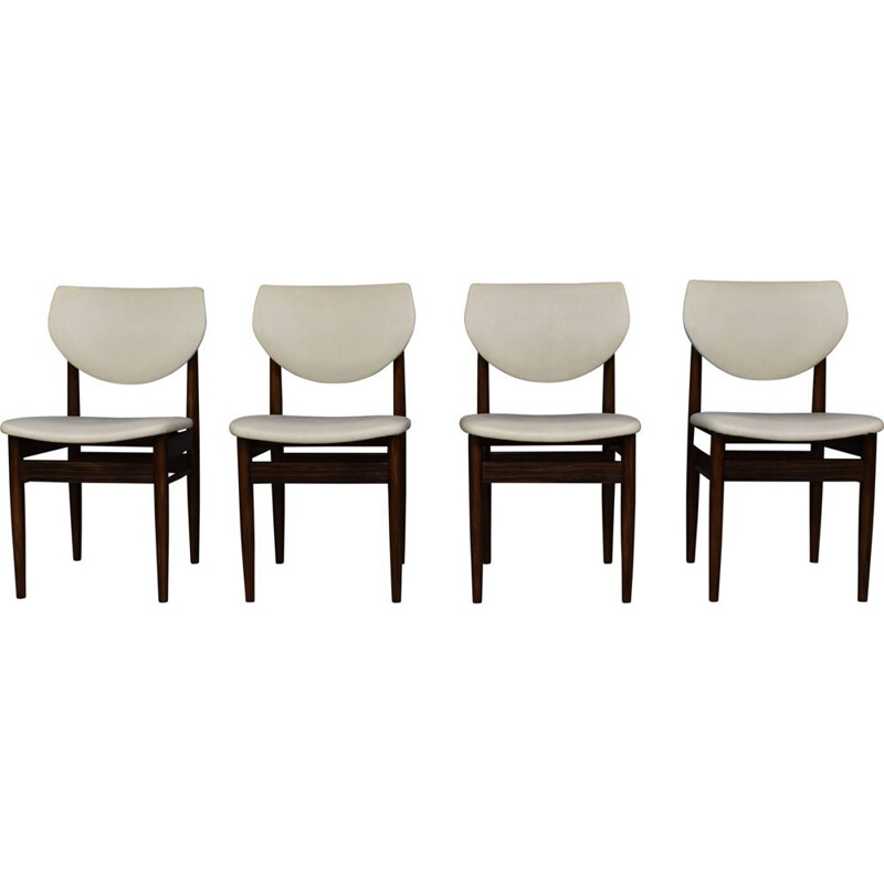 Set of 4 vintage wengé chairs