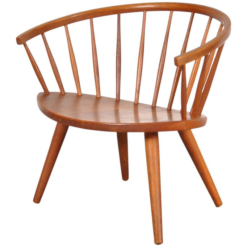 Vintage Easy Chair in Oak by Yngve Ekstrom Model Arka 1950s