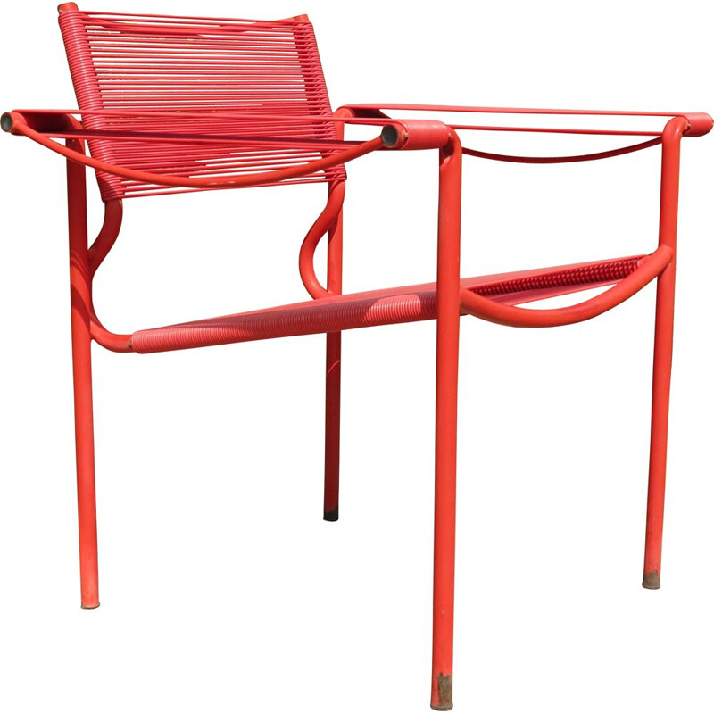 Vintage Spaghetti chair by Giandomenico Belotti in red
