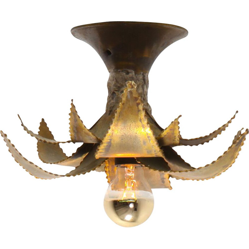 Vintage Palm chandelier for Maison Jansen in brass 1970
