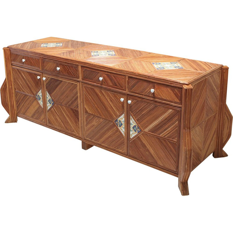 Bamboo and ceramic sideboard by Vivai Del Sud