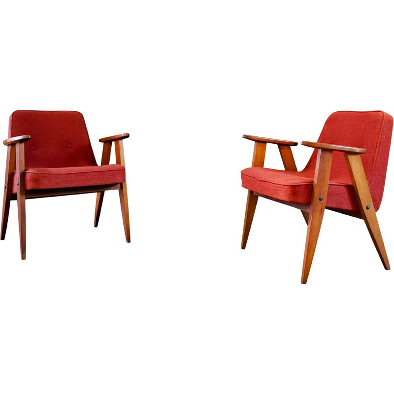 Pair of 366 armchairs by Józef Chierowski