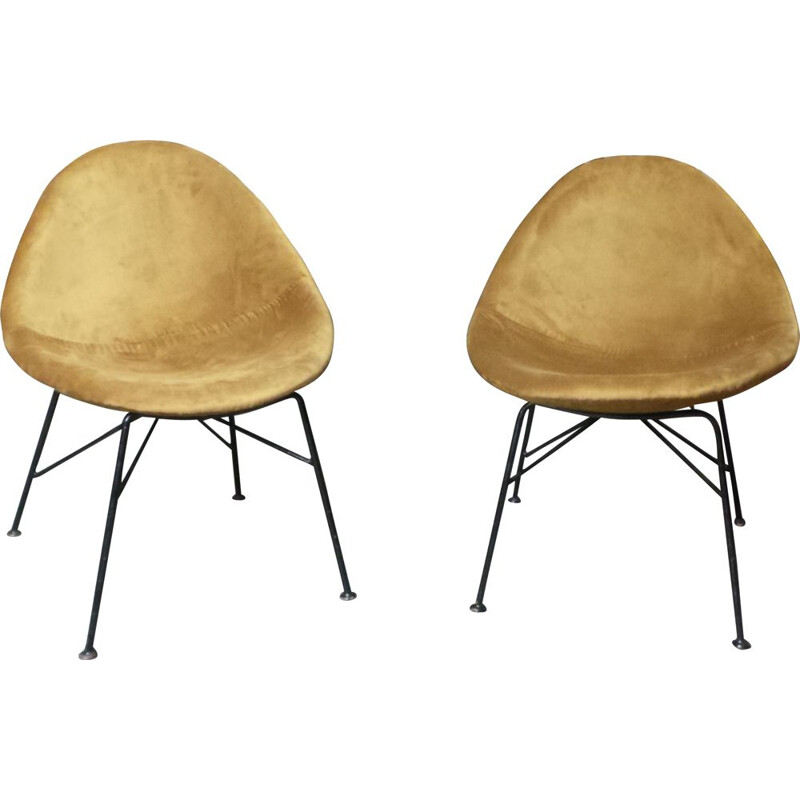 Pair of vintage chairs and stools by Navratil in yellow fabric and metal 1950